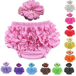 $enCountryForm.capitalKeyWord Canada - Baby Ruffle Bloomers Pant Satin Nappy Cover With Headband Infant Lace PP Pants Toddler Kids Ruffled Cotton Underwear Bloomers 12 Color C5