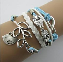 $enCountryForm.capitalKeyWord NZ - Vintage Owl Leaf Woven Bracelet Unisex Bracelets Jewelry Gifts For Others Wrap Bracelets