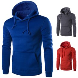 Mens winter hoodies sliM online shopping - 2017 Autumn Winter Mens Hoodies Solid Color Cotton Hooded Men Pullover Hooded Sweatshirts six color for choice