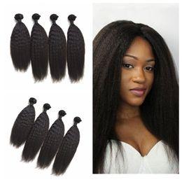 $enCountryForm.capitalKeyWord Canada - 4pcs Brazilian Human Hair Kinky Straight Hair Bundles Natural Black Brazilian Coarse Yaki Hair Weave Wefts G-EASY
