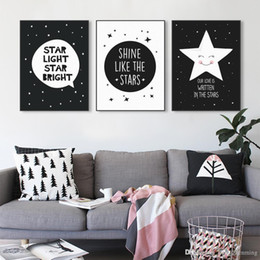 Baby Posters Canada - Modern Black White Nordic Kawaii Star Quotes Art Print Poster Wall Picture Nursery Canvas Painting No Frame Baby Room Decoration