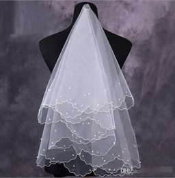 Pearl Net Dress Canada - 2016 New Veil For Pearls Wedding Dress Bridal Gown Pencil Edge White Ivory Red Tulle One Layers Without Comb Cheap Size 150cm-95cmg