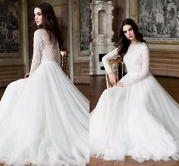 Barato Manga De Renda Vestido De Noiva De Volta-Modes elegantes lace Boho Country Wedding Dresses 2017 Full Lace Sheer mangas compridas Illusion Back A Line Tulle Bridal Gowns Cheap Custom Made
