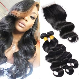 Pièces De Machines Peu Coûteuses Pas Cher-Cheap 7A Virgin Brazilian Hair Bundles 3 Pieces Body Wave Avec Fermeture Noir Naturel Malais Indien Péruvien Raw Virgin Hair