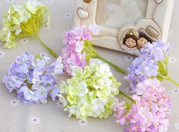 nice romantic flower Canada - Small Hydrangea flower head Cute Romantic Mini Wedding Floar Spring Colors Artificial Silk Article Nice Assessories for Decoration on Bags