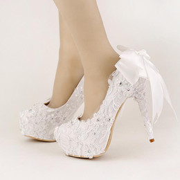 6976254304f7 Sweet White Ribbon Bows Bridal Shoes High Heel Platform Shoes with Stiletto  Wedding Shoes Handmade Comfortable Satin Women Shoes