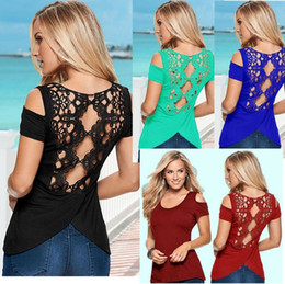 Cotton T Shirts Lace Canada - 2016 summer new Europe and back lace stitching Slim wild solid color strapless short-sleeved T-shirt 2663 S--3XL