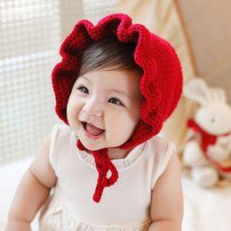 Newborn handmade crochet flowers hats baby wool hat kids winter caps  fashion girls knit hair accessories toddler bonnet photography hats 35a5005e5a9e