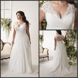 Cheap Wholesale Casual Beach Plus Size Wedding Dresses With Train Color A Line Chiffon Lace UP