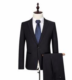 $enCountryForm.capitalKeyWord Australia - (Jacket+Pants) Business Men Suit Black one Button Costume Prom Wedding Dress Suit Men suit Slim Fit two-piece
