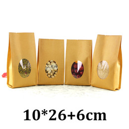 Kraft Brown Paper Bags Window UK - 10cm 26cm food grade packaging brown kraft quad seal paper bag with windows