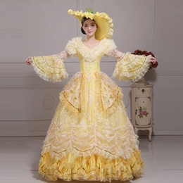 $enCountryForm.capitalKeyWord Canada - 2016 Brand New Yellow Lace Flower Marie Antoinette Evening Party Dress Medieval Renaissance Singer Stage Performance Costume
