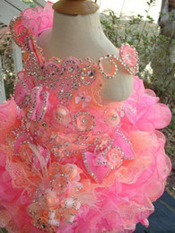 little cupcakes 2019 - Gorgeous 2017 Cupcake Dresses Formal Girl's Pageant Dresses Short Off Shoulder Sequins Crystals Flower Girls Gowns