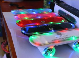 Discount radio skateboards High Quality Skateboard Scooter Design Colorful LED Light Speaker Bluetooth Mini Wireless Stereo Speakers FM Radio Stere