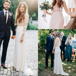 Fitted Piece Dresses Canada - Two Pieces Lace Wedding Dresses Long Illusion Sleeves Sheer Jewel Neck Satin Sheath Illusion Back Fitted Brides Dresses Custom Made