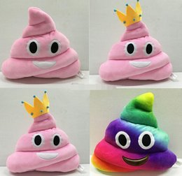 Discount plush crown pillow - 35cm emoji plush toys Pillow Cushion cartoon 14 inches Poop Stuffed Animals Pillows dolls crown pink rainbow color Free