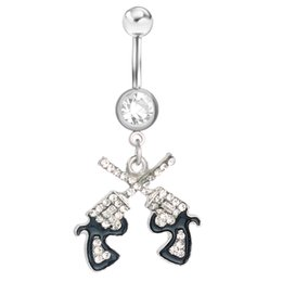Double belly rings online shopping - D0043 colors Newest The double guns style navel belly ring clear color stone drop shipping piercing body jewelry