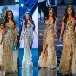 Gold Sequin Crystal Prom Dress Slit Canada - Vestido Miss Universo Zuhair Murad Arabic Dress Evening Wear Mermaid Gold Side Slit Crystal Beaded Lace Tulle Prom Celebrity Dresses