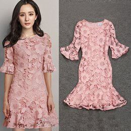 $enCountryForm.capitalKeyWord Canada - New 2016 Women Clothing 3 4 Long Sleeve Dress For Big Girl Casual pullover Crew Neck Pincess Dress Women Fashion Nice Lace Dress