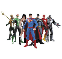 Wholesale Dc Action Figures UK - DC Superman Bat Collectibles Justice League 7-Pack Action Figure Superman Model Collection Toy Gift OTH719