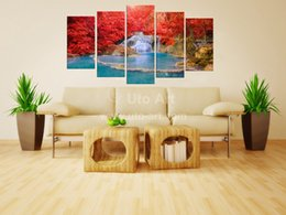 Giclee Art Canada - Unframed 5 Panel Wall Art Paintings Landscaping Waterfall Picture and Red Tree Giclee Print on Canvas for Restaurant Decoration