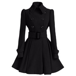 double breasted trench dress 2019 - Wholesale-Winter Coat Women Europe Belt Buckle Turndown Collar Trench Coat Female Double Breasted Coat Casual Long Sleev