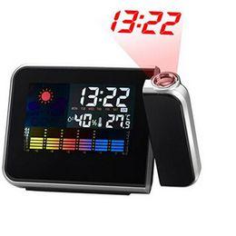 abe13584aae4 Proyector de pantalla LED digital Tiempo de alarma con batería Reloj de  alarma del tiempo Humedad de temperatura con retroiluminación Envío gratuito