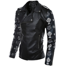 Chinese  Fall-Mens bomber jacket PU Material Motorcycle Suit fashion wear skeleton & Cross print Zipper Casual Biker Suit Street Clothes manufacturers