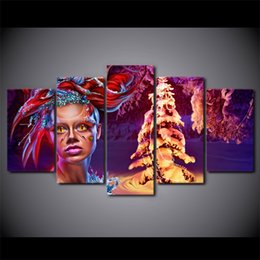 $enCountryForm.capitalKeyWord Australia - 5 Panel HD Printed Framed Christmas Tree Make Up Women Wall Canvas Art Modern Print Painting Poster Picture For Home Decor