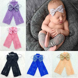 Barato Leggings De Renda Recém-nascidos-Moda Baby Girls Leg Warmer Soft Lace Newborn Leg Warmer Baby Birthday Photo Prop Kids Aniversário Gift Leg Warmer Headband Set