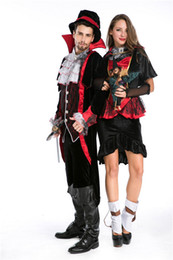 tv couple costumes NZ - Halloween Vampire Couple Costumes Men's Bloody Handsome Costume Womens Steampunk Vampiress Uniforms Blood Countess Kits
