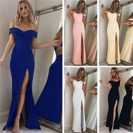 Barato Dhl Vestidos De Verão Para As Mulheres-2017 New Summer Women Elegant Sexy Strapless Party Dresses Split Boho Beach Long Dress Slim Black Maxi Dress Robe Femme Vestido DHL DY170908