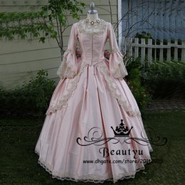 Simple Gothic Gowns Canada - Victorian Gothic Lace Ball Gown Wedding Dresses 2018 Princess Plus Size Pink Long Sleeve Tiered Overskirt Vintage Satin Bridal Gowns 2K17