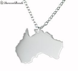 new fashion 304 stainless steel silhouette map australia charm necklace link cable chain silver tone 445cm17 4 8 long1piece