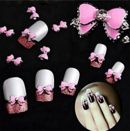 Arc Rose Pas Cher-50Pcs 3D Rose multi strass Bow Tie Nail Art Décoration Stickers Diy Drop Shipping 4183