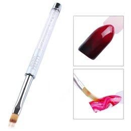 Barato Pincéis De Desenho Ao Atacado-Atacado- BORN PRETTY 1 Pc UV Gel Brush Gradient Pintura Pen Drawing Brush White Rhinestone Handle Manicure Nail Art Tool