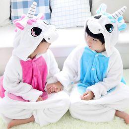 Yellow children pajamas online shopping - Children Unicorn Pajamas Hooded Nightgowns Soft Flannel night Homewear Jumpsuit Kids warm Animal leisure wear Zipper on hip Winter