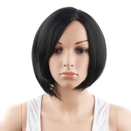 "China 10"" Black Color High Temperature Fiber Synthetic Hair Short Straight Wigs for African Women cheap african hair wigs women suppliers"