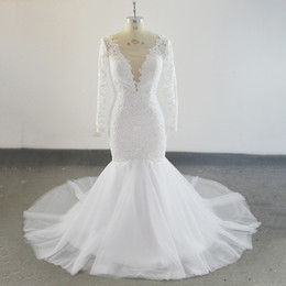 b126ad11aec Real Sample Lace Mermaid Wedding Dress With Long Sleeves Appliques Sweep  Train Robe De Mariee Bridal Wedding Gowns Plus Size