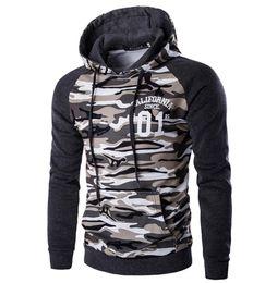 DesigneD hooDeD hooDy online shopping - Camouflage Hoodie Slim Fit For Men Patchwork Design Part Pattern Matching Color Raglan Sleeve Hooded Pullover Mens Sport Hoodie Hoody