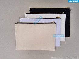 blank zipper bag NZ - 7x10 Inches 12 oz Pure Cotton Canvas Imitation Gold Zip Pouch Blank Black Gold Zip Bag Natural White Off White Black 4 Colors In Available