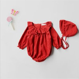 Garçon De Fille En Bambou Ruffled Pas Cher-Newborn Tassel Ruffles Rompers Toddler Girls Princess Corduroy Combinaisons Babies Christmas Autumn Romper 2017 bebe clothes