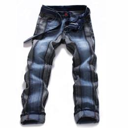 Chinese  Wholesale-2016 Runway Mens Skinny Jeans Patchwork Straight Leg Elastic Stretch Denim Biker Hip Hop Pants For Men manufacturers