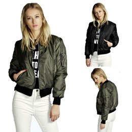 Debout Collant Manteaux Femmes Pas Cher-Cool Black Army Green Classique Bomber Jacket Femmes Thin Stand Collar Zip Up Loisirs Biker Coat zip up Jackets