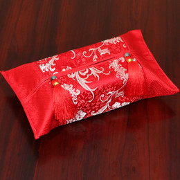 Wholesale Case For Tissue Box Canada - Patchwork Silk Brocade Removable Facial Tissue Box Cover for Car Coffee Table Dining Room Rectangular Chinese style Tassel Kleenex Case Bag