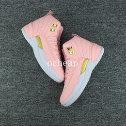 Taille 12 Chaussures De Toile Pas Cher-Air Retro 12 GS Pink Lemonade Basketball Shoes Womens Air Retro 12 Pink Lemonade Retro 12s Sneakers Taille nous 5-8