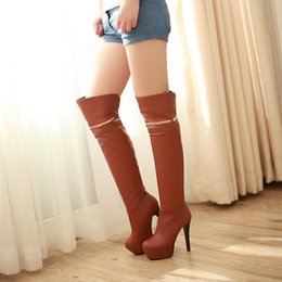 ultra high heels 43 Canada - Boots New arrival female shoes ultra knee-length plus size 40 41 42 high heel 12CM Platform 4CM Thin Heels EUR Size 34-43