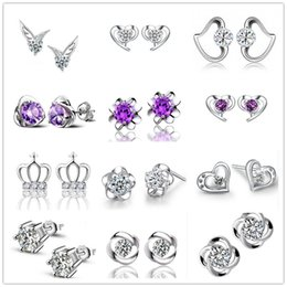 Mixed Styles Rhinestone 925 Stamped Silver Earrings Heart Crown Flower Purple Crystal Zircon For Women Wholesale Can Choose Your Style