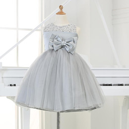 Discount girls tutu dresses 12y 2015 Gray tulle Princess Girl Party Dresses Bead Appliques Tutu Wedding Dress for Christmas Birthday clothes 12M-12Y