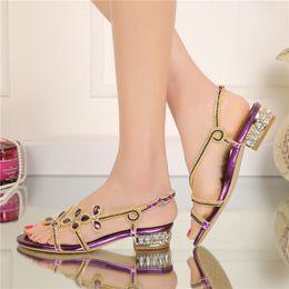 $enCountryForm.capitalKeyWord Canada - Low Heel Rhinestone Sandals Ladies Summer Shoes Crystal Flower Wedding Party Shoes Purple Gold Black Color Large Size 9 10